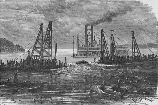 'Removing Snags by Dredging', 1883-Unknown-Giclee Print