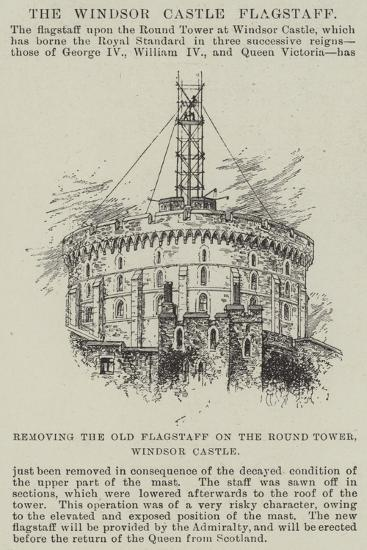 Removing the Old Flagstaff on the Round Tower, Windsor Castle--Giclee Print