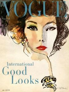 Vogue Cover - March 1958 - Good Looks by Ren? R. Bouch?