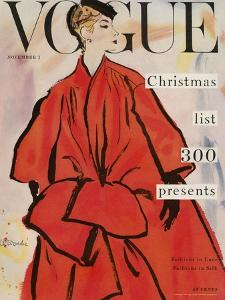 Vogue Cover - November 1953 - Christmas Coat by Ren? R. Bouch?