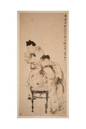 Two Boys Playing with Goldfish, 1879 (Hanging Scroll, Ink and Colour on Paper)