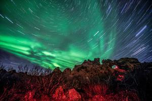 Dimmuborgir Lava Formation Northern Lights Akureyri North Iceland Europe by Renato Granieri