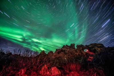 Dimmuborgir Lava Formation Northern Lights Akureyri North Iceland Europe