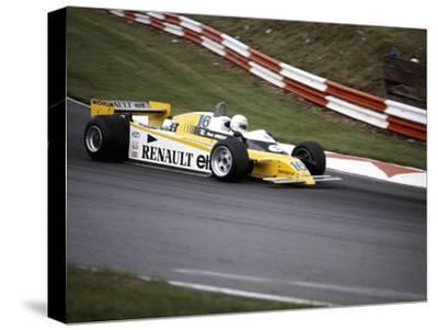 Rene Arnoux Racing a Renault Re20, British Grand Prix, Brands Hatch, 1980