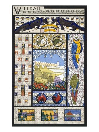 Stained Glass Window Designs, from 'Decorative Sketches', C.1895 (Colour Litho)
