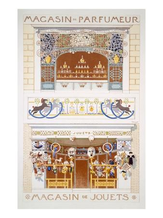 Two Shop-Front Designs: a Perfume Seller's and a Toyshop, C.1880-95 (Colour Litho)