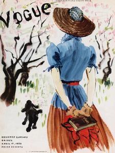 Vogue Cover - April 1938 - Into the Woods by René Bouét-Willaumez