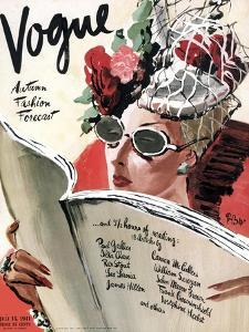 Vogue Cover - July 1941 - Summer Reading by René Bouét-Willaumez