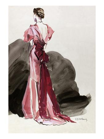 Vogue - October 1934 - Red Vionnet Evening Gown