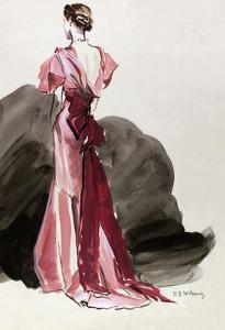 Vogue - October 1934 - Red Vionnet Evening Gown by René Bouét-Willaumez