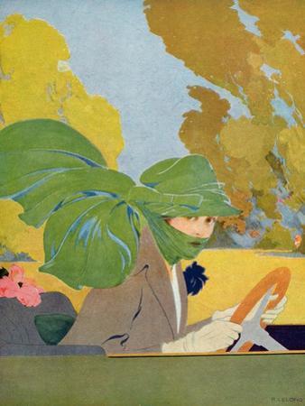 Marthe Chenal at the Wheel of Her Motor Car, Illustration from 'Femina' Magazine, August, 1919 by Rene Lelong