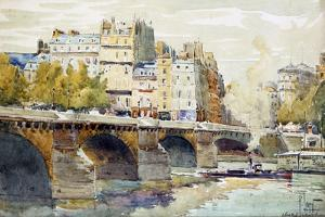 The New Bridge and the Quay of the Louvre, C1890-C1938 by Rene Leverd