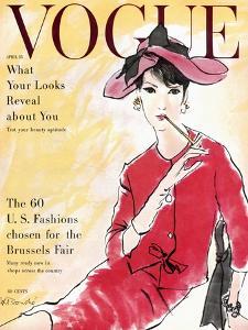Vogue Cover - April 1958 - Power Suit by René R. Bouché