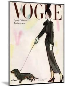 Vogue Cover - March 1917 - Dachshund Stroll by René R. Bouché