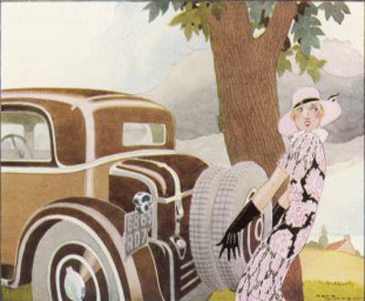 Lady Driver Changes a Wheel Dismayed