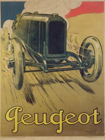 Poster Advertising a Peugeot Racing Car, C.1918 (Colour Litho)