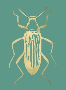 Gold Foil Beetle I on Emerald by Renée Stramel