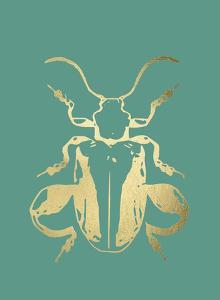 Gold Foil Beetle II on Emerald by Renée Stramel