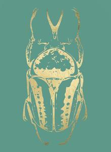 Gold Foil Beetle IV on Emerald by Renée Stramel