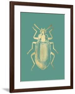 Gold Foil Beetle V on Emerald by Renée Stramel