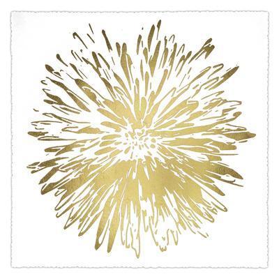 Gold Foil Flower Burst I Deckled