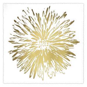 Gold Foil Flower Burst I Deckled by Renee W^ Stramel
