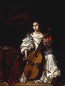 A Young Lady Playing a Violoncello by Renier de la Haye