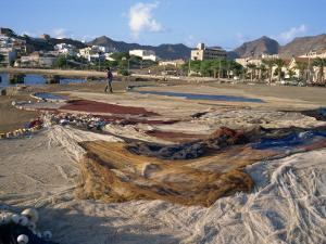 Nets Laid Out to Dry on Dockside, Mindelo, Sao Vicente, Cape Verde Islands, Atlantic, Africa by Renner Geoff