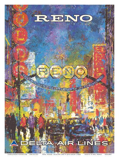 Reno, Nevada - The Biggest Little City in the World - Delta Air Lines-William (Jack) Laycox-Art Print