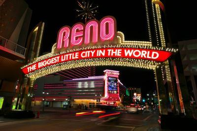 Reno, Usa   August 12: The Biggest Little City In The World Sign Over  Virginia Street At Night On Photographic Print By Donyanedomam | Art.com