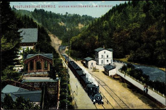 Rentzschmühle Pöhl Vogtland, Bahnstation, Zieher--Giclee Print