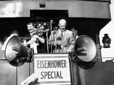 Rep Candidate Pres Dwight Eisenhower and Wife on Eisenhower Special in 1952 Election, Nov 3, 1952--Photo