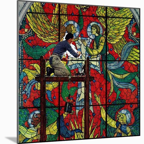 """""""Repairing Stained Glass"""", April 16,1960-Norman Rockwell-Mounted Premium Giclee Print"""