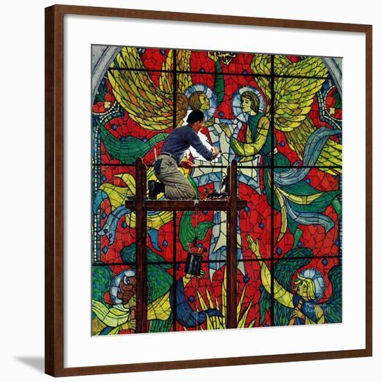 """""""Repairing Stained Glass"""", April 16,1960-Norman Rockwell-Framed Premium Giclee Print"""
