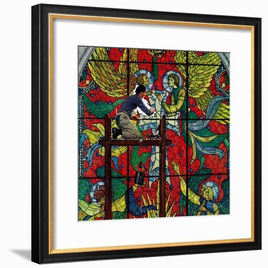 """Repairing Stained Glass"", April 16,1960-Norman Rockwell-Framed Giclee Print"