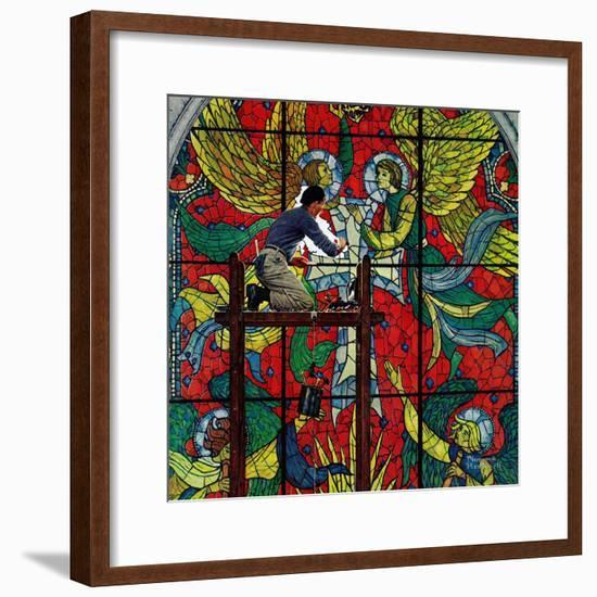 """""""Repairing Stained Glass"""", April 16,1960-Norman Rockwell-Framed Giclee Print"""