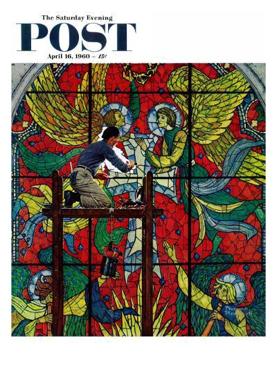 """""""Repairing Stained Glass"""" Saturday Evening Post Cover, April 16,1960-Norman Rockwell-Giclee Print"""