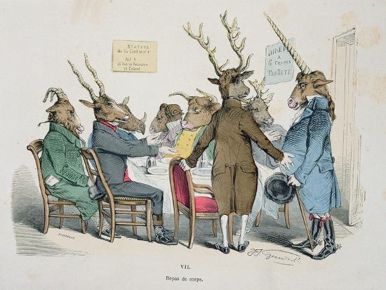 Repas de Corps, Caricature from Les Metamorphoses du Jour Series, Reprinted in 1854- Grandville-Giclee Print