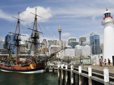 Replica of Captain Cook's Endeavour, National Maritime Museum, Darling Harbour, Sydney, Australia-Jochen Schlenker-Photographic Print