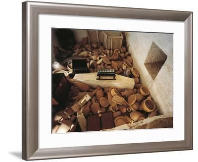 Replica of Hiding-Place Beside Sarcophagus Chamber with Pottery and Baskets--Framed Giclee Print