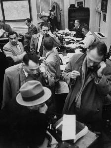 Reporters at White House after Dwight D. Eisenhower's Stroke