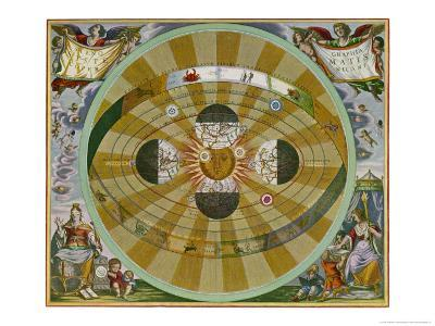 Representation of His System Showing Earth Circling the Sun-Andreas Cellarius-Giclee Print