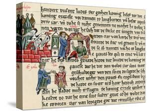 Reprint of Manuscript Page with Ill. Depicting Pope Leo I Meeting with Attila the Hun