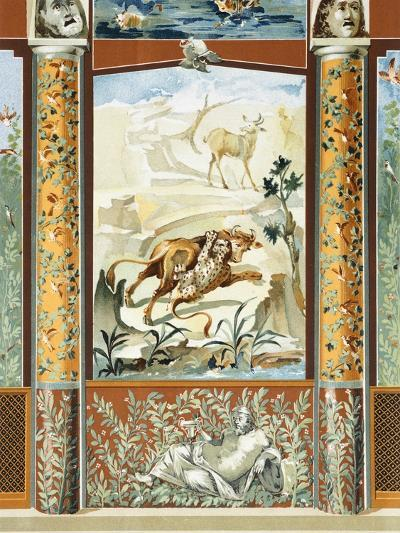 Reproduction of a Fresco Depicting a Wild Animal Attacking a Cow-Fausto and Felice Niccolini-Giclee Print