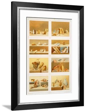Reproduction of a Fresco Depicting Objects Representing Moments of Everyday Life-Fausto and Felice Niccolini-Framed Giclee Print