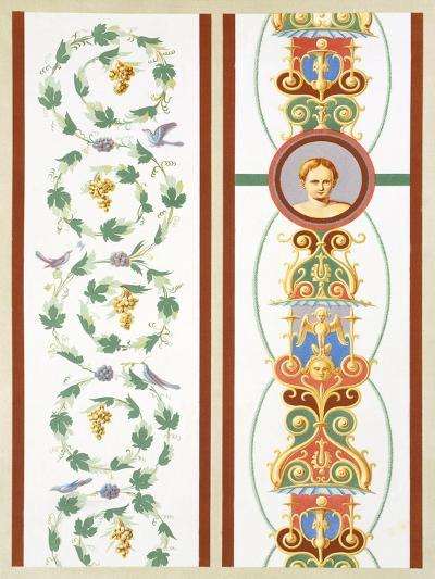 Reproduction of a Fresco with Ornamental Motifs, from the Houses and Monuments of Pompeii-Fausto and Felice Niccolini-Giclee Print