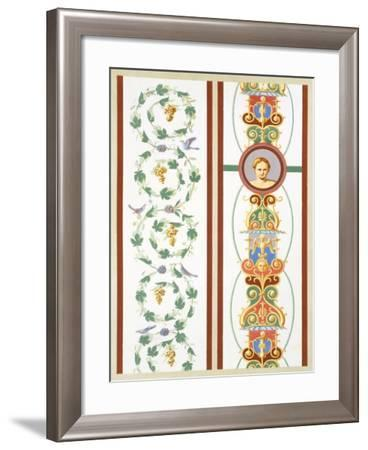 Reproduction of a Fresco with Ornamental Motifs, from the Houses and Monuments of Pompeii-Fausto and Felice Niccolini-Framed Giclee Print
