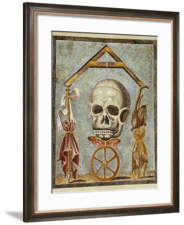Reproduction of a Mosaic with Masonic Symbols, from the Houses and Monuments of Pompeii-Fausto and Felice Niccolini-Framed Giclee Print