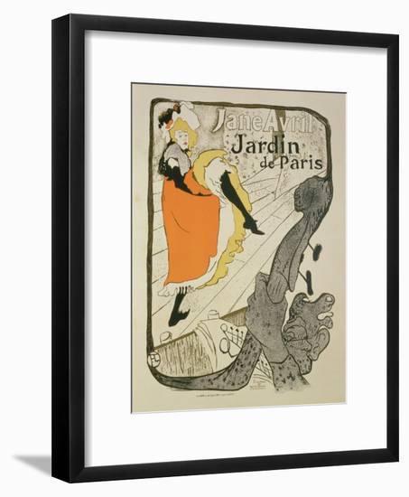 "Reproduction of a Poster Advertising ""Jane Avril"" at the Jardin De Paris, 1893-Henri de Toulouse-Lautrec-Framed Giclee Print"