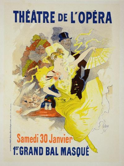 """Reproduction of a Poster Advertising the First """"Grand Bal Masque,"""" Theatre De L'Opera, Paris, 1896-Jules Ch?ret-Giclee Print"""